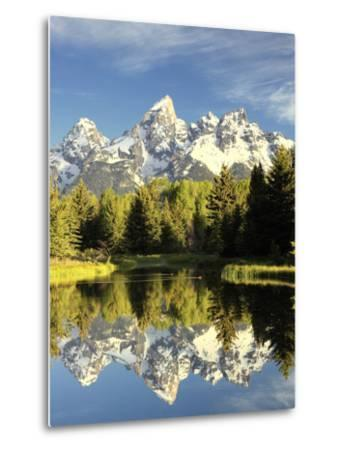 Reflections of Grand Teton Mountain in the Snake River-Robbie George-Metal Print
