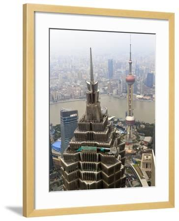 High View of Jinmao (Jin Mao) Tower and Oriental Pearl Tower, Shanghai, China, Asia-Amanda Hall-Framed Photographic Print