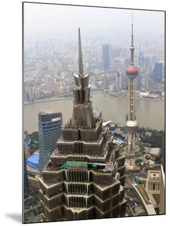 High View of Jinmao (Jin Mao) Tower and Oriental Pearl Tower, Shanghai, China, Asia-Amanda Hall-Mounted Photographic Print
