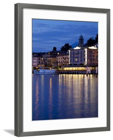 Promenade and Lake at Dusk, Bellagio, Lake Como, Lombardy, Italian Lakes, Italy, Europe-Frank Fell-Framed Photographic Print