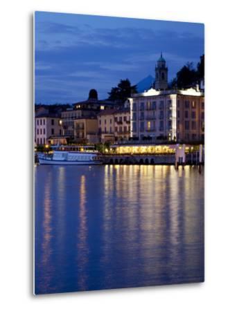 Promenade and Lake at Dusk, Bellagio, Lake Como, Lombardy, Italian Lakes, Italy, Europe-Frank Fell-Metal Print