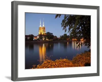 Cathedral and River Odra (River Oder), Old Town, Wroclaw, Silesia, Poland, Europe-Frank Fell-Framed Photographic Print