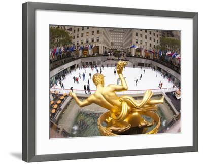 Ice Skating Rink Below the Rockefeller Centre Building on Fifth Avenue, New York City, New York, Un-Gavin Hellier-Framed Photographic Print