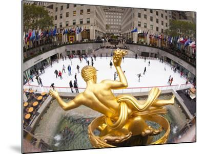 Ice Skating Rink Below the Rockefeller Centre Building on Fifth Avenue, New York City, New York, Un-Gavin Hellier-Mounted Photographic Print