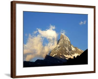 White Clouds and the Matterhorn, Zermatt,Valais, Swiss Alps, Switzerland, Europe-Hans Peter Merten-Framed Photographic Print