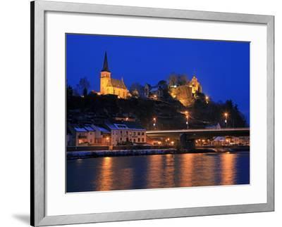 Od Town with Castle in Winter, Saarburg, Saar Valley, Rhineland-Palatinate, Germany, Europe-Hans Peter Merten-Framed Photographic Print