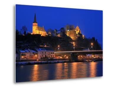 Od Town with Castle in Winter, Saarburg, Saar Valley, Rhineland-Palatinate, Germany, Europe-Hans Peter Merten-Metal Print