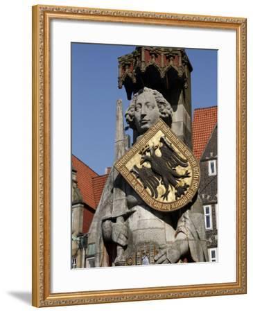 Statue of Roland, Market Square, UNESCO World Heritage Site, Bremen, Germany, Europe-Hans Peter Merten-Framed Photographic Print