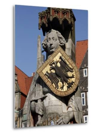 Statue of Roland, Market Square, UNESCO World Heritage Site, Bremen, Germany, Europe-Hans Peter Merten-Metal Print