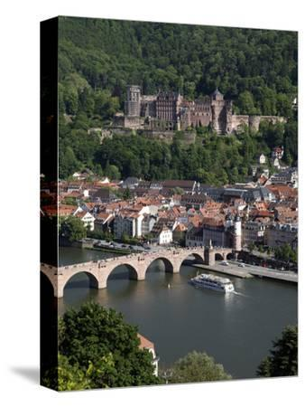 Old Bridge over the River Neckar, Old Town and Castle, Heidelberg, Baden-Wurttemberg, Germany, Euro-Hans Peter Merten-Stretched Canvas Print