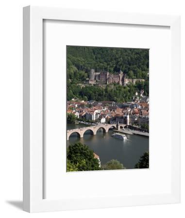 Old Bridge over the River Neckar, Old Town and Castle, Heidelberg, Baden-Wurttemberg, Germany, Euro-Hans Peter Merten-Framed Photographic Print