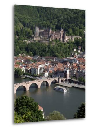 Old Bridge over the River Neckar, Old Town and Castle, Heidelberg, Baden-Wurttemberg, Germany, Euro-Hans Peter Merten-Metal Print