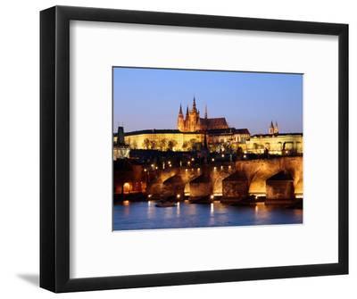Prague Castle on the Skyline and the Charles Bridge over the River Vltava, UNESCO World Heritage Si-Hans Peter Merten-Framed Photographic Print