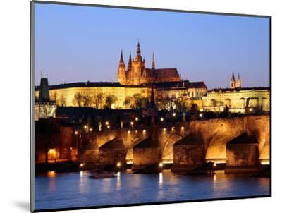 Prague Castle on the Skyline and the Charles Bridge over the River Vltava, UNESCO World Heritage Si-Hans Peter Merten-Mounted Photographic Print
