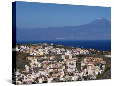 View over San Sebastian De La Gomera to Pico De Teide on Tenerife, Gomera, Canary Islands, Spain, A-Hans Peter Merten-Stretched Canvas Print