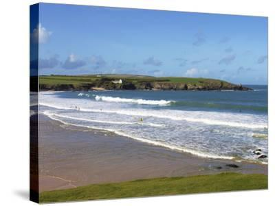 Surfers, Harlyn Bay, Cornwall, England, United Kingdom, Europe-Jeremy Lightfoot-Stretched Canvas Print
