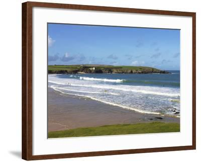 Surfers, Harlyn Bay, Cornwall, England, United Kingdom, Europe-Jeremy Lightfoot-Framed Photographic Print