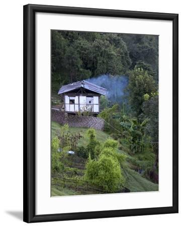 Traditional Small Bhutanese House with Smoke Coming from Roof from Open Fire Inside, Near Trongsa, -Lee Frost-Framed Photographic Print