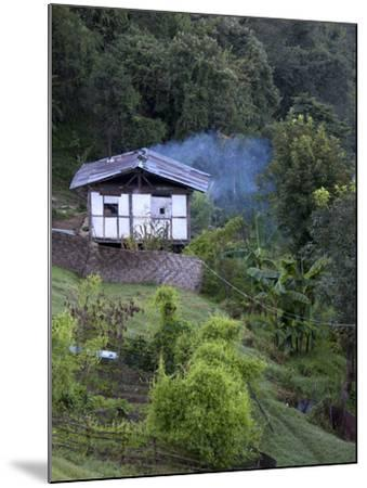 Traditional Small Bhutanese House with Smoke Coming from Roof from Open Fire Inside, Near Trongsa, -Lee Frost-Mounted Photographic Print