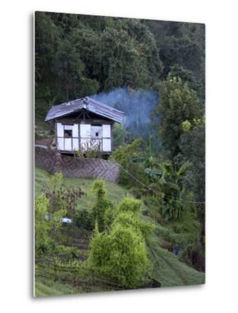 Traditional Small Bhutanese House with Smoke Coming from Roof from Open Fire Inside, Near Trongsa, -Lee Frost-Metal Print