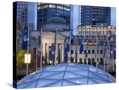 The Dome of the Ice Rink and Vancouver Art Gallery at Night, Robson Square, Downtown, Vancouver, Br-Martin Child-Stretched Canvas Print