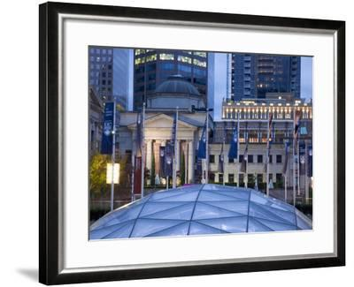 The Dome of the Ice Rink and Vancouver Art Gallery at Night, Robson Square, Downtown, Vancouver, Br-Martin Child-Framed Photographic Print