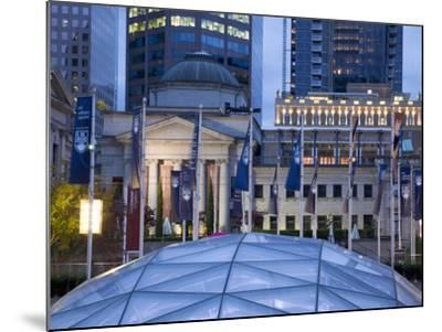 The Dome of the Ice Rink and Vancouver Art Gallery at Night, Robson Square, Downtown, Vancouver, Br-Martin Child-Mounted Photographic Print