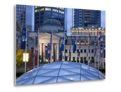 The Dome of the Ice Rink and Vancouver Art Gallery at Night, Robson Square, Downtown, Vancouver, Br-Martin Child-Metal Print