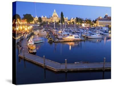 Inner Harbour with Parliament Building, Victoria, Vancouver Island, British Columbia, Canada, North-Martin Child-Stretched Canvas Print