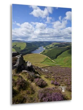 Derwent Edge, Ladybower Reservoir, and Purple Heather Moorland in Foreground, Peak District Nationa-Neale Clark-Metal Print