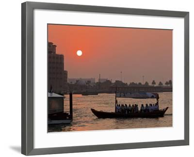Abra Water Taxi, Dubai Creek at Sunset, Bur Dubai, Dubai, United Arab Emirates, Middle East-Neale Clark-Framed Photographic Print