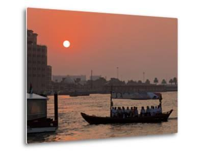 Abra Water Taxi, Dubai Creek at Sunset, Bur Dubai, Dubai, United Arab Emirates, Middle East-Neale Clark-Metal Print