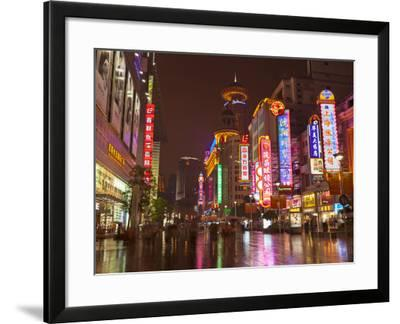 Neon Signs and Shoppers, Nanjing Road, Shanghai, China, Asia-Neale Clark-Framed Photographic Print