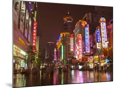 Neon Signs and Shoppers, Nanjing Road, Shanghai, China, Asia-Neale Clark-Mounted Photographic Print