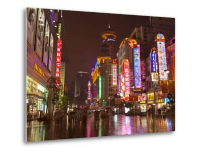 Neon Signs and Shoppers, Nanjing Road, Shanghai, China, Asia-Neale Clark-Metal Print