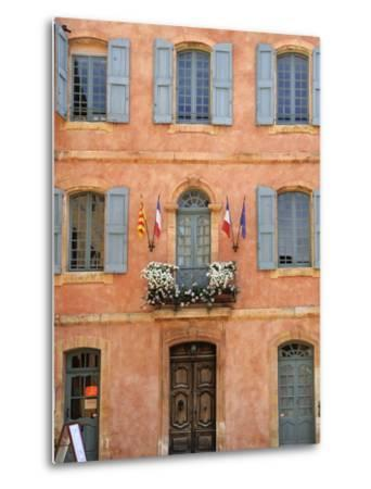 Mairie Office with Typical Ochre Coloured Walls, Roussillon, Parc Naturel Regional Du Luberon, Vauc-Peter Richardson-Metal Print