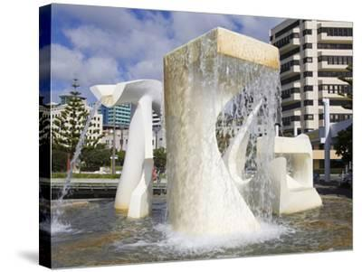 Albatross Fountain by Tanya Ashley in Frank Kitts Park, Wellington, North Island, New Zealand, Paci-Richard Cummins-Stretched Canvas Print