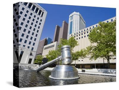 Gavel Sculpture Outside the Ohio Judicial Center, Columbus, Ohio, United States of America, North A-Richard Cummins-Stretched Canvas Print