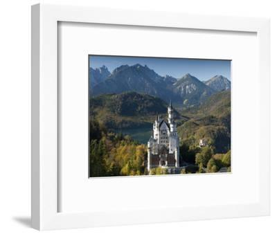 Romantic Neuschwanstein Castle and German Alps in Autumn, Southern Part of Romantic Road, Bavaria, -Richard Nebesky-Framed Photographic Print