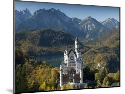 Romantic Neuschwanstein Castle and German Alps in Autumn, Southern Part of Romantic Road, Bavaria, -Richard Nebesky-Mounted Photographic Print