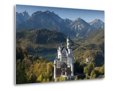 Romantic Neuschwanstein Castle and German Alps in Autumn, Southern Part of Romantic Road, Bavaria, -Richard Nebesky-Metal Print