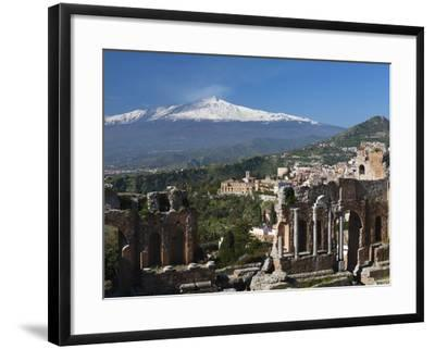 The Greek Amphitheatre and Mount Etna, Taormina, Sicily, Italy, Europe-Stuart Black-Framed Premium Photographic Print