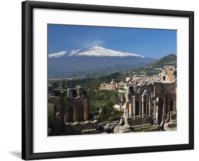 The Greek Amphitheatre and Mount Etna, Taormina, Sicily, Italy, Europe-Stuart Black-Framed Photographic Print