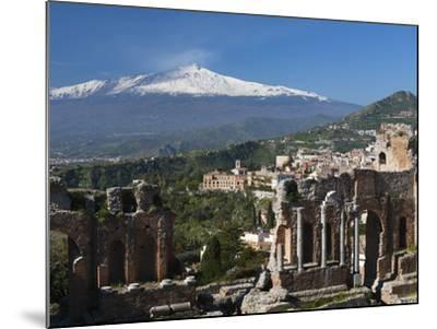 The Greek Amphitheatre and Mount Etna, Taormina, Sicily, Italy, Europe-Stuart Black-Mounted Photographic Print