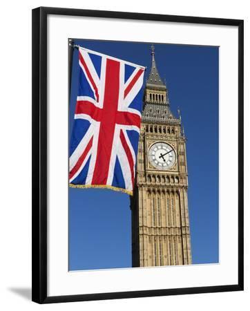 Big Ben with Union Flag, Westminster, UNESCO World Heritage Site, London, England, United Kingdom, -Stuart Black-Framed Photographic Print