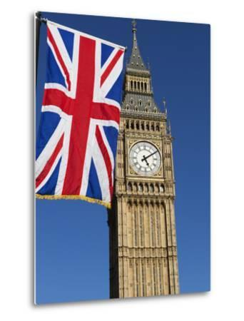 Big Ben with Union Flag, Westminster, UNESCO World Heritage Site, London, England, United Kingdom, -Stuart Black-Metal Print