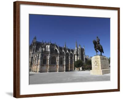 Nuno Alvares Pereira Statue, Battle of Ajubarrota Victor in 1385, at Batalha Abbey, UNESCO World He-Stuart Forster-Framed Photographic Print