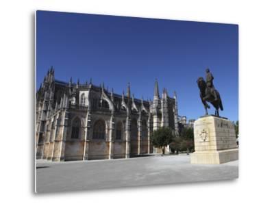 Nuno Alvares Pereira Statue, Battle of Ajubarrota Victor in 1385, at Batalha Abbey, UNESCO World He-Stuart Forster-Metal Print