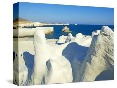 Sarakiniko Lunar Landscape, Sarakiniko Beach, Milos, Cyclades Islands, Greek Islands, Aegean Sea, G-Tuul-Stretched Canvas Print