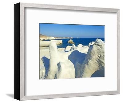 Sarakiniko Lunar Landscape, Sarakiniko Beach, Milos, Cyclades Islands, Greek Islands, Aegean Sea, G-Tuul-Framed Photographic Print